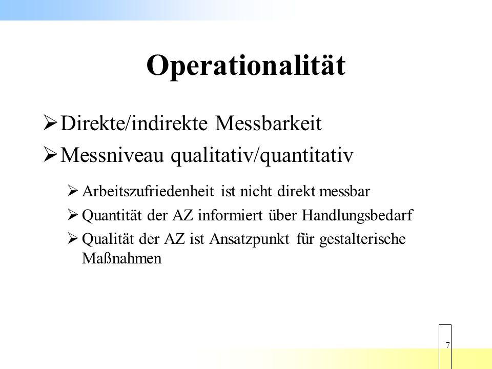 18 Operationalität Generelle Messbarkeit des Phänomens AZ bei ABB und SAZ unterstellt Messniveau quantitativ, bei ABB auch stark qualitativ durch sieben Teilskalen