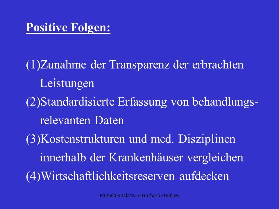 Pamela Rackow & Barbara Stumper Positive Folgen: (1)Zunahme der Transparenz der erbrachten Leistungen (2)Standardisierte Erfassung von behandlungs- re