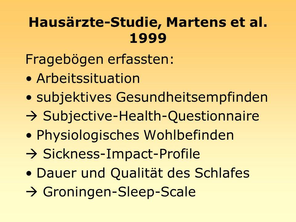 Hausärzte-Studie, Martens et al. 1999 Fragebögen erfassten: Arbeitssituation subjektives Gesundheitsempfinden Subjective-Health-Questionnaire Physiolo