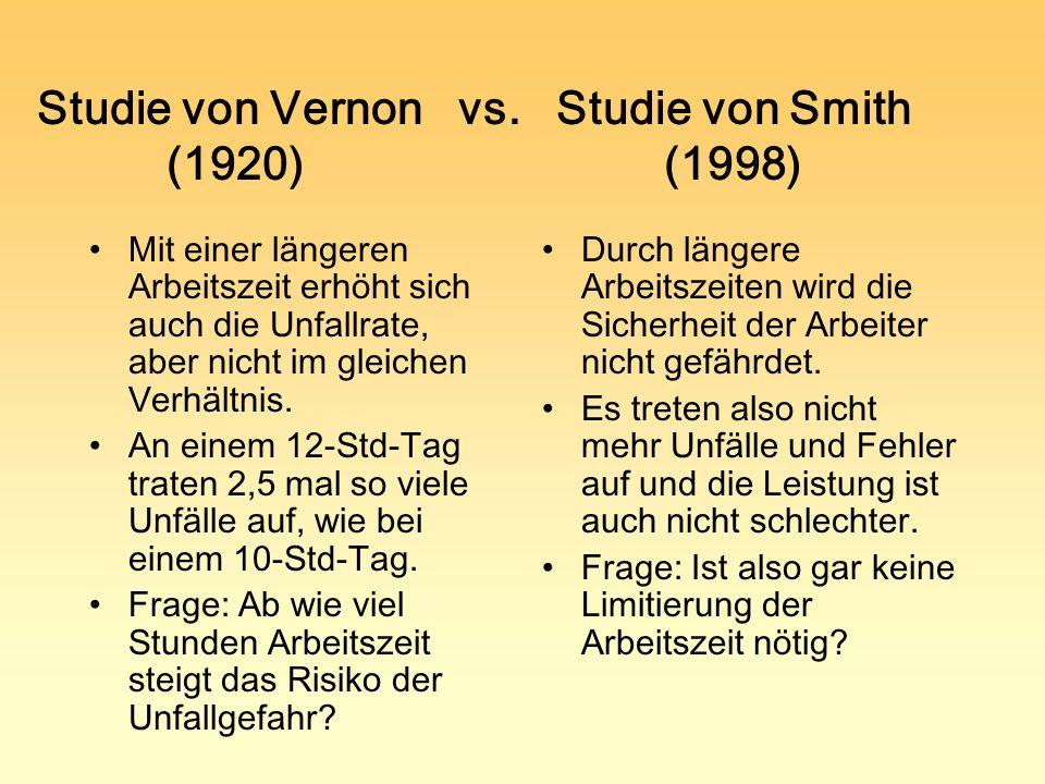 Studie von Vernon vs. Studie von Smith (1920)(1998) Mit einer längeren Arbeitszeit erhöht sich auch die Unfallrate, aber nicht im gleichen Verhältnis.