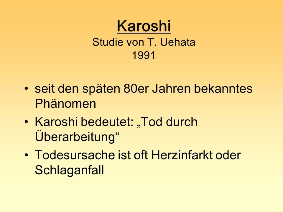 Karoshi Studie von T. Uehata 1991 seit den späten 80er Jahren bekanntes Phänomen Karoshi bedeutet: Tod durch Überarbeitung Todesursache ist oft Herzin