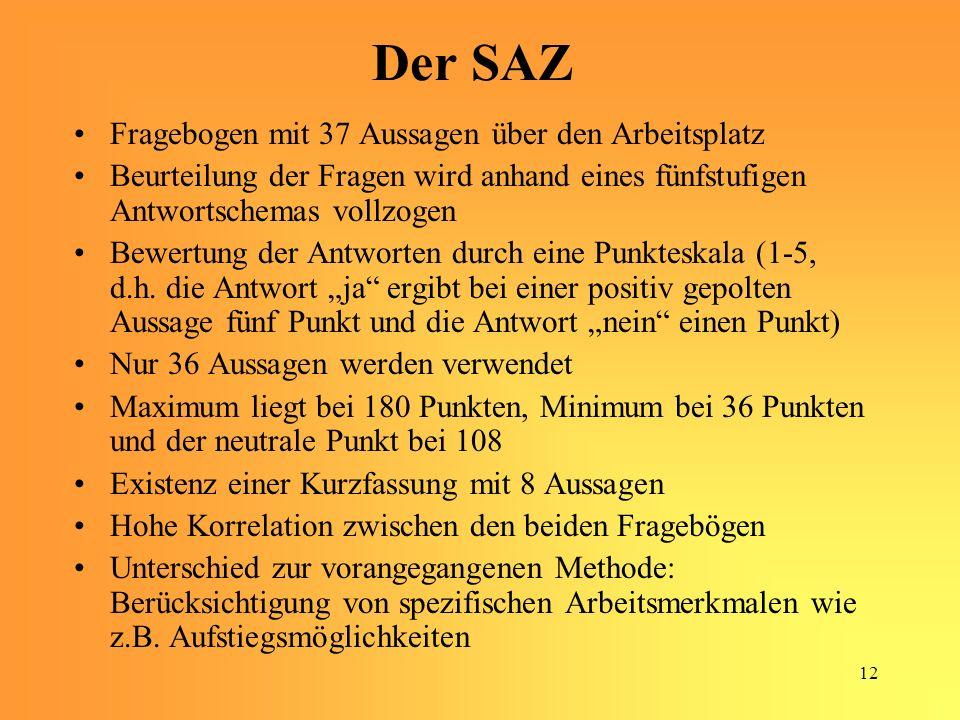 12 Der SAZ Fragebogen mit 37 Aussagen über den Arbeitsplatz Beurteilung der Fragen wird anhand eines fünfstufigen Antwortschemas vollzogen Bewertung der Antworten durch eine Punkteskala (1-5, d.h.