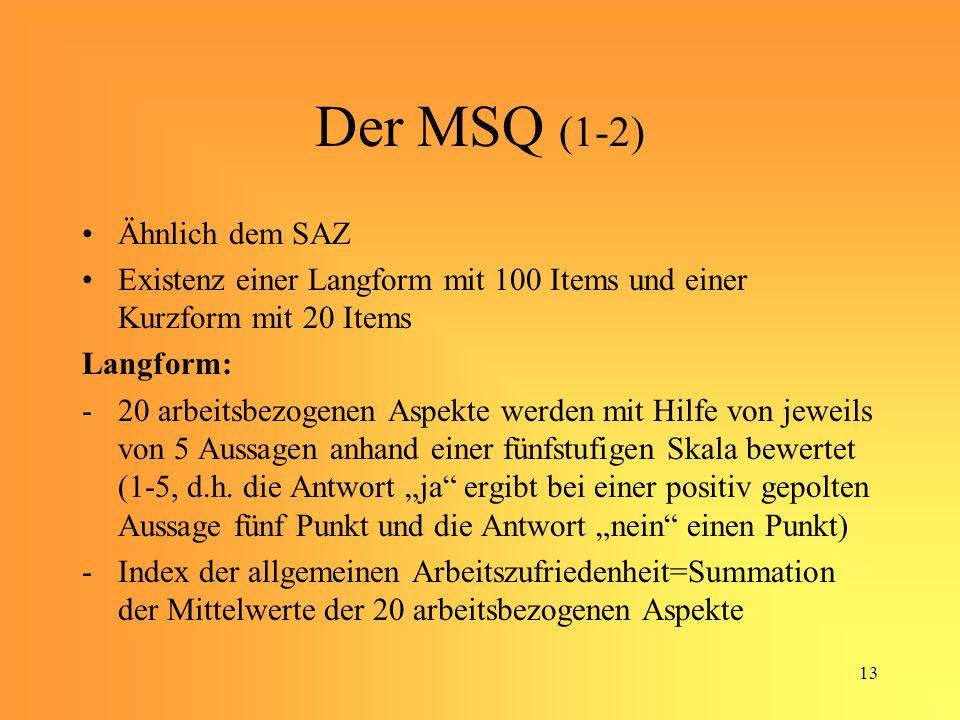 13 Der MSQ (1-2) Ähnlich dem SAZ Existenz einer Langform mit 100 Items und einer Kurzform mit 20 Items Langform: -20 arbeitsbezogenen Aspekte werden mit Hilfe von jeweils von 5 Aussagen anhand einer fünfstufigen Skala bewertet (1-5, d.h.