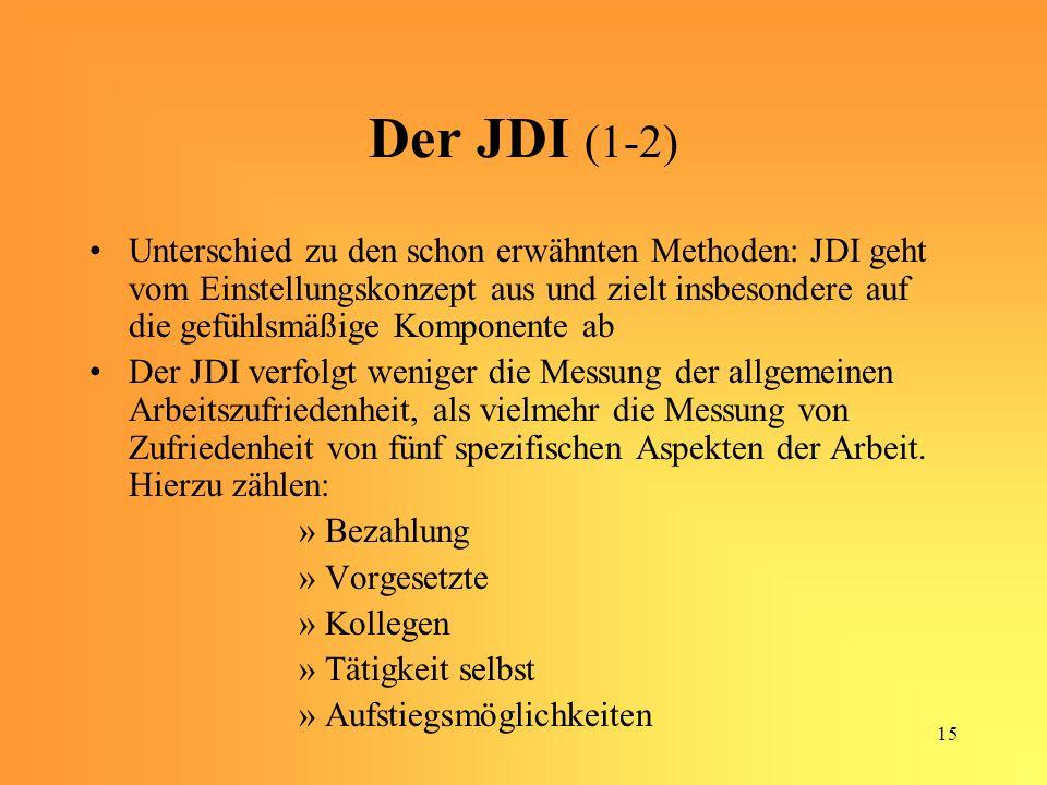 15 Der JDI (1-2) Unterschied zu den schon erwähnten Methoden: JDI geht vom Einstellungskonzept aus und zielt insbesondere auf die gefühlsmäßige Komponente ab Der JDI verfolgt weniger die Messung der allgemeinen Arbeitszufriedenheit, als vielmehr die Messung von Zufriedenheit von fünf spezifischen Aspekten der Arbeit.