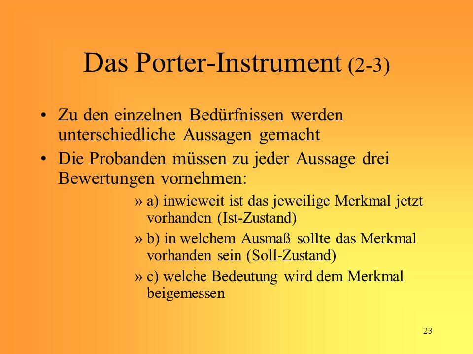 23 Das Porter-Instrument (2-3) Zu den einzelnen Bedürfnissen werden unterschiedliche Aussagen gemacht Die Probanden müssen zu jeder Aussage drei Bewertungen vornehmen: »a) inwieweit ist das jeweilige Merkmal jetzt vorhanden (Ist-Zustand) »b) in welchem Ausmaß sollte das Merkmal vorhanden sein (Soll-Zustand) »c) welche Bedeutung wird dem Merkmal beigemessen