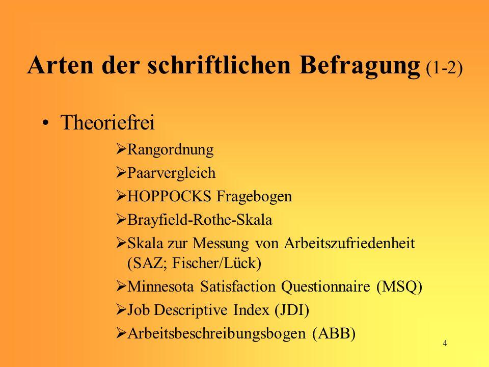 5 Arten der schriftlichen Befragung (2-2) Theoriebezogen PORTER – Fragebogen BRUGGEMANN