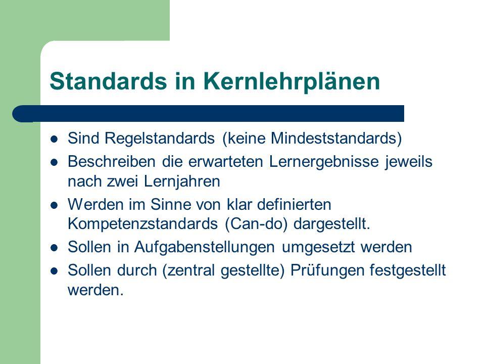 Standards in Kernlehrplänen Sind Regelstandards (keine Mindeststandards) Beschreiben die erwarteten Lernergebnisse jeweils nach zwei Lernjahren Werden