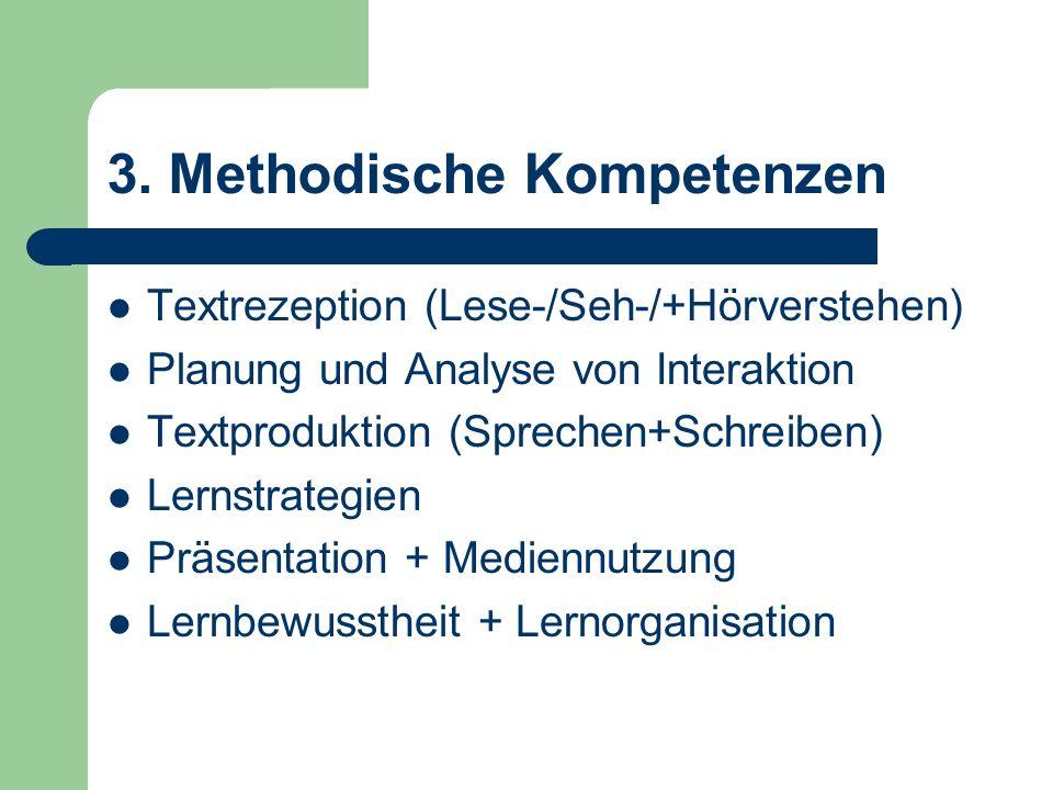 3. Methodische Kompetenzen Textrezeption (Lese-/Seh-/+Hörverstehen) Planung und Analyse von Interaktion Textproduktion (Sprechen+Schreiben) Lernstrate