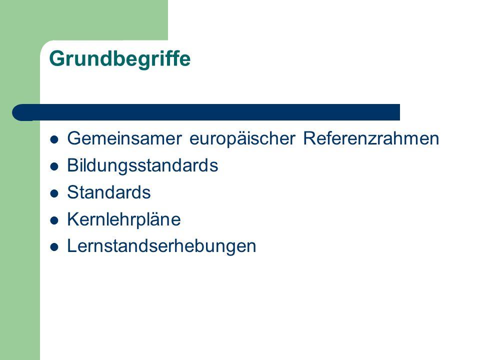 Grundbegriffe Gemeinsamer europäischer Referenzrahmen Bildungsstandards Standards Kernlehrpläne Lernstandserhebungen