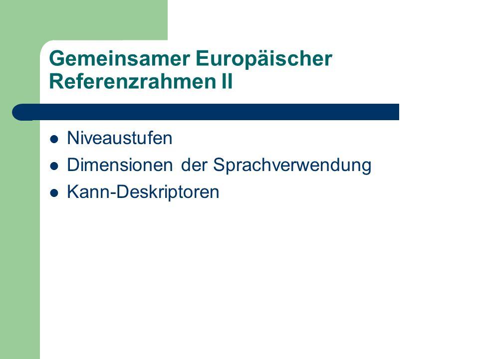 Gemeinsamer Europäischer Referenzrahmen II Niveaustufen Dimensionen der Sprachverwendung Kann-Deskriptoren
