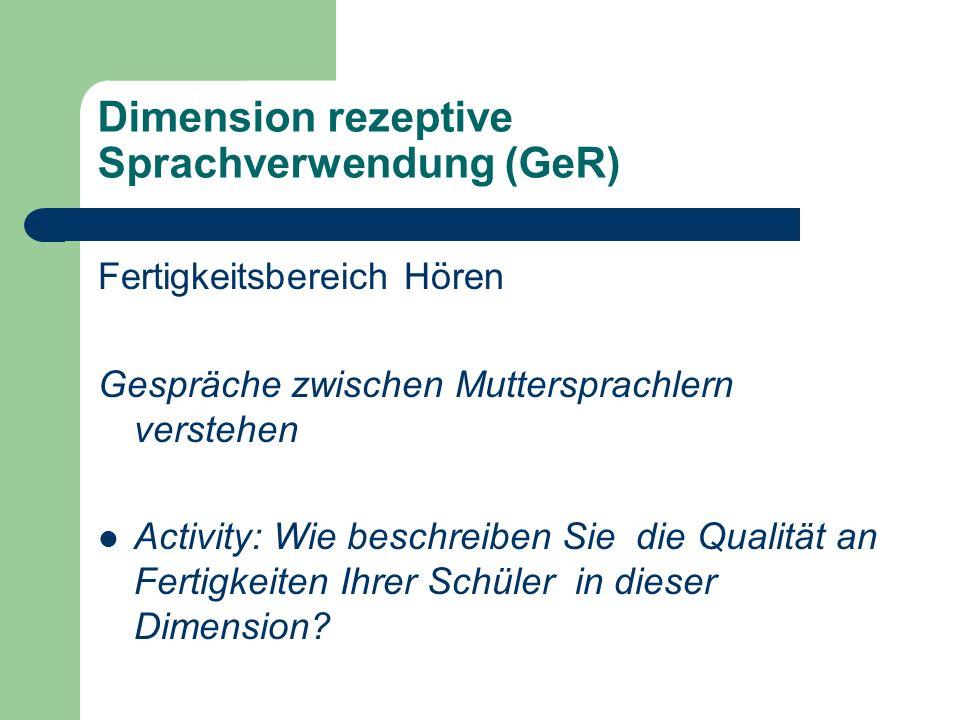 Dimension rezeptive Sprachverwendung (GeR) Fertigkeitsbereich Hören Gespräche zwischen Muttersprachlern verstehen Activity: Wie beschreiben Sie die Qu
