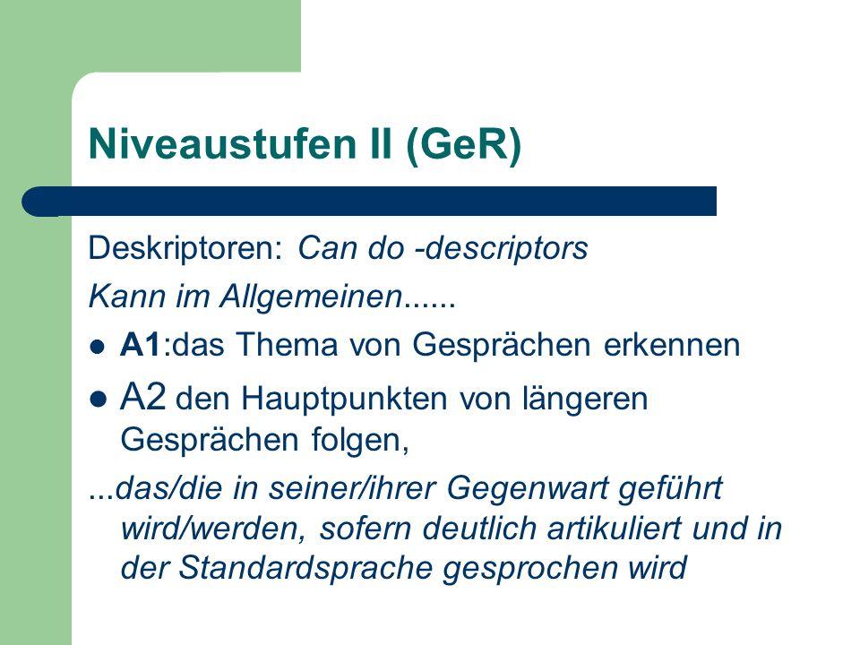 Niveaustufen II (GeR) Deskriptoren: Can do -descriptors Kann im Allgemeinen...... A1:das Thema von Gesprächen erkennen A2 den Hauptpunkten von längere