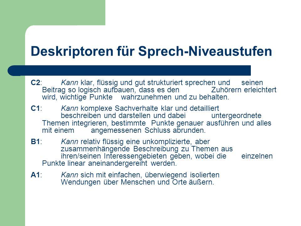 Deskriptoren für Sprech-Niveaustufen C2:Kann klar, flüssig und gut strukturiert sprechen und seinen Beitrag so logisch aufbauen, dass es den Zuhörern