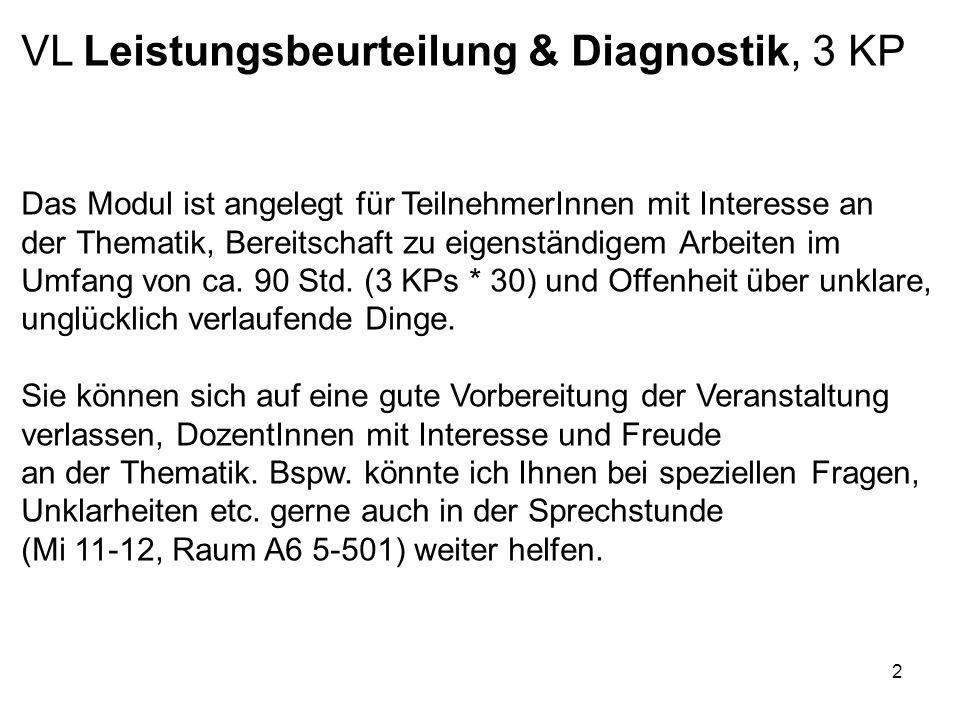 2 VL Leistungsbeurteilung & Diagnostik, 3 KP Das Modul ist angelegt für TeilnehmerInnen mit Interesse an der Thematik, Bereitschaft zu eigenständigem