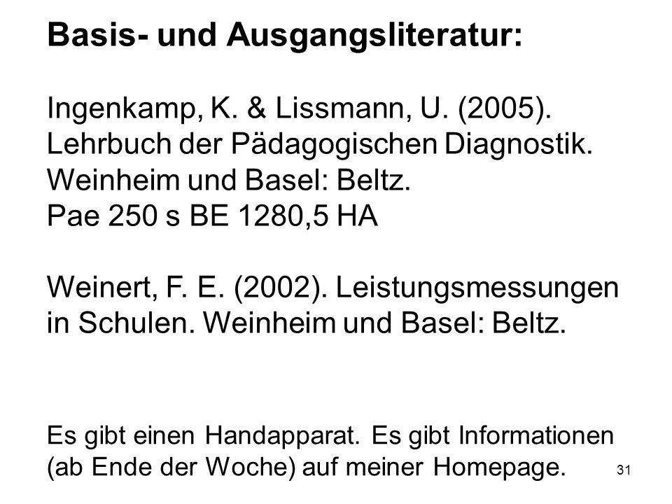 31 Basis- und Ausgangsliteratur: Ingenkamp, K. & Lissmann, U. (2005). Lehrbuch der Pädagogischen Diagnostik. Weinheim und Basel: Beltz. Pae 250 s BE 1