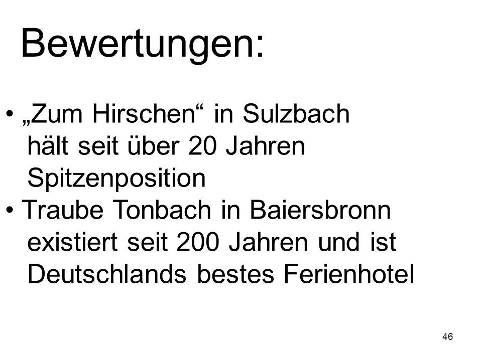 46 Bewertungen: Zum Hirschen in Sulzbach hält seit über 20 Jahren Spitzenposition Traube Tonbach in Baiersbronn existiert seit 200 Jahren und ist Deut