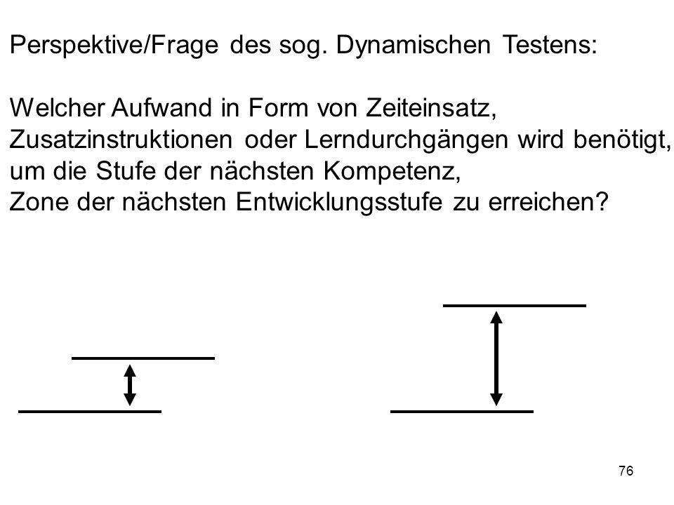 76 Perspektive/Frage des sog. Dynamischen Testens: Welcher Aufwand in Form von Zeiteinsatz, Zusatzinstruktionen oder Lerndurchgängen wird benötigt, um