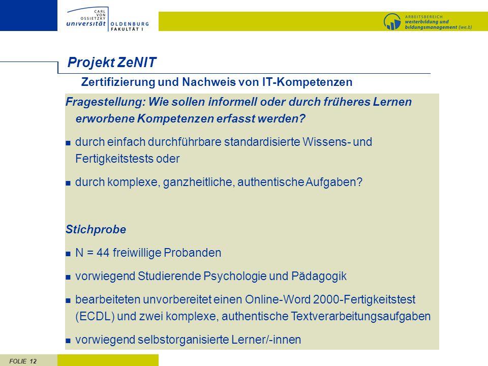 FOLIE 12 Projekt ZeNIT Fragestellung: Wie sollen informell oder durch früheres Lernen erworbene Kompetenzen erfasst werden? durch einfach durchführbar