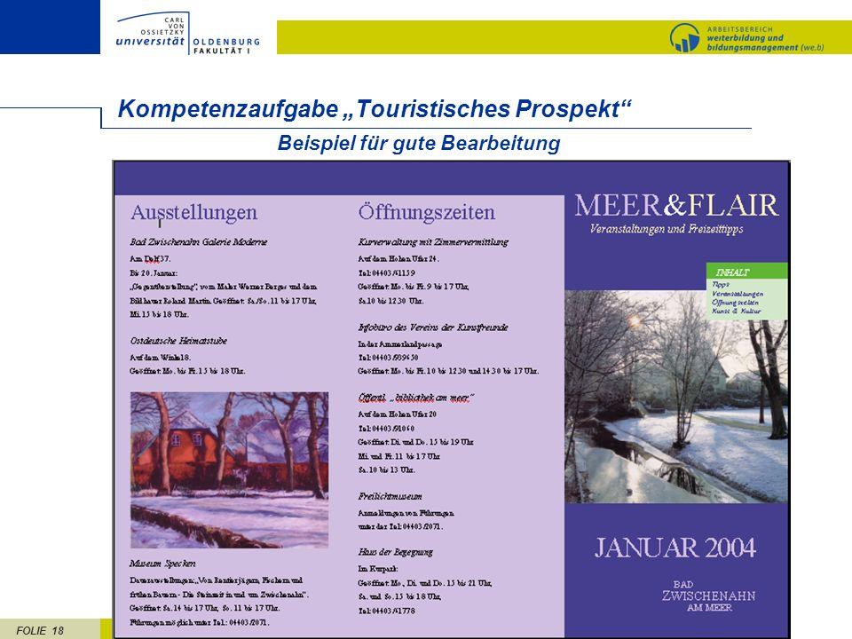 FOLIE 18 Beispiel für gute Bearbeitung Kompetenzaufgabe Touristisches Prospekt