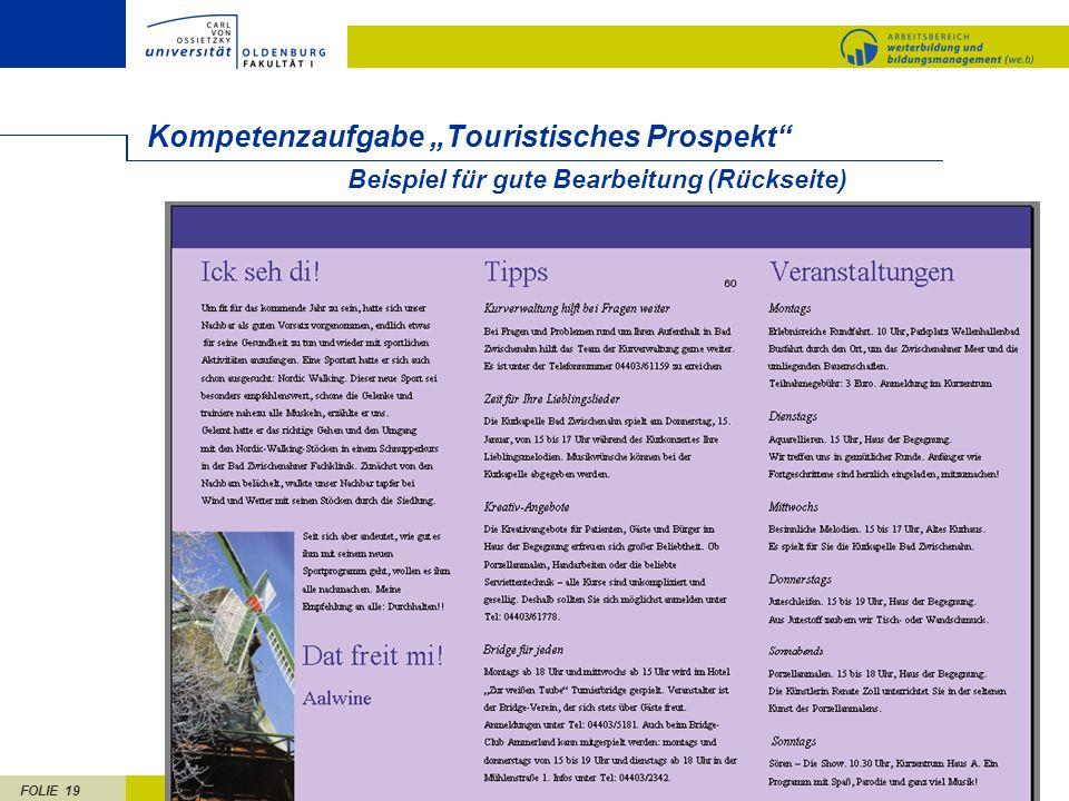 FOLIE 19 Beispiel für gute Bearbeitung (Rückseite) Kompetenzaufgabe Touristisches Prospekt