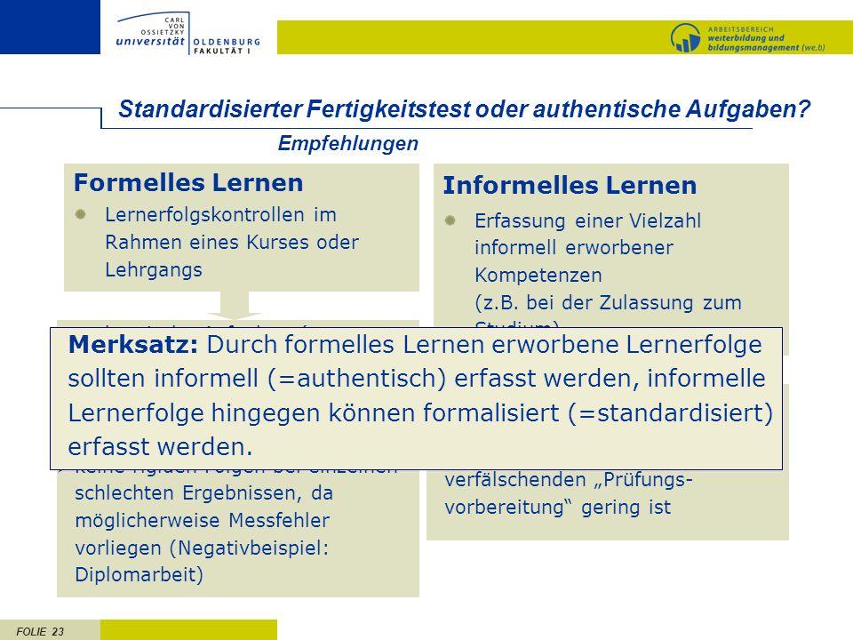 FOLIE 23 Standardisierter Fertigkeitstest oder authentische Aufgaben? authentische Aufgaben (um Prüfungslernen zu vermeiden) mehrere Aufgaben über den