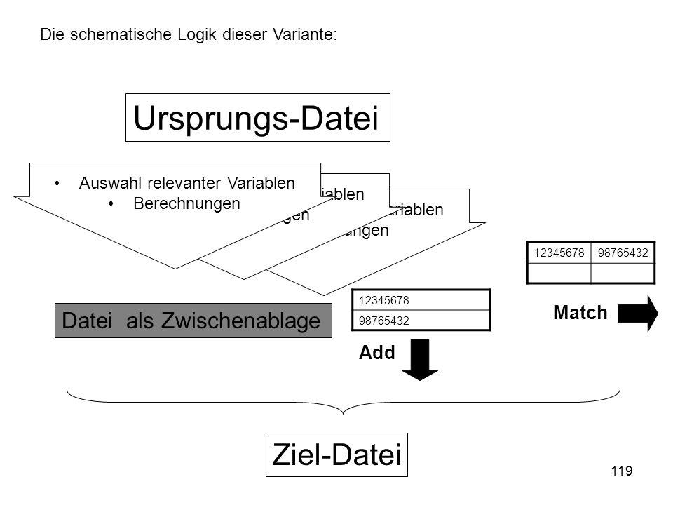 119 Auswahl relevanter Variablen Berechnungen Auswahl relevanter Variablen Berechnungen Die schematische Logik dieser Variante: Ursprungs-Datei Datei