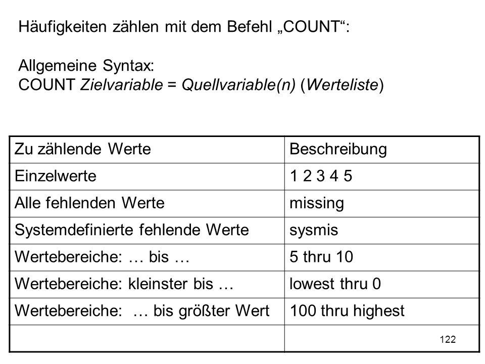 122 Häufigkeiten zählen mit dem Befehl COUNT: Allgemeine Syntax: COUNT Zielvariable = Quellvariable(n) (Werteliste) Zu zählende WerteBeschreibung Einz