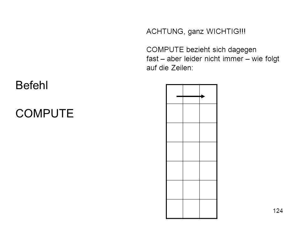 124 ACHTUNG, ganz WICHTIG!!! COMPUTE bezieht sich dagegen fast – aber leider nicht immer – wie folgt auf die Zeilen: Befehl COMPUTE