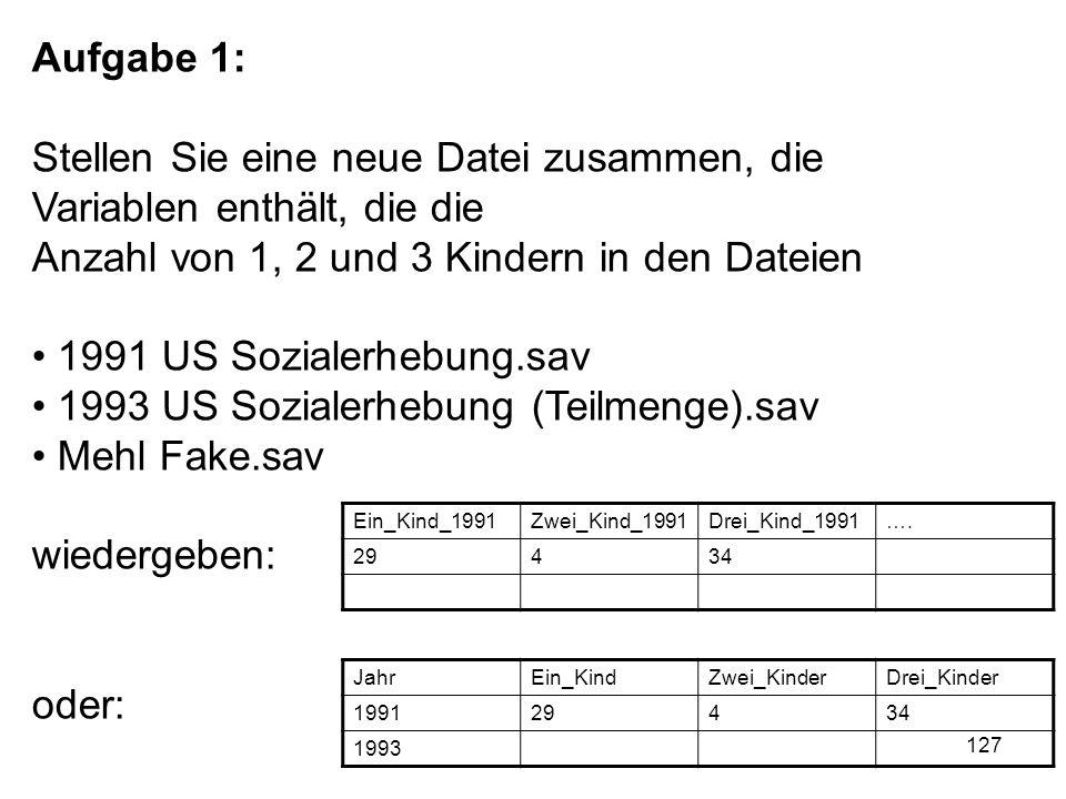 127 Aufgabe 1: Stellen Sie eine neue Datei zusammen, die Variablen enthält, die die Anzahl von 1, 2 und 3 Kindern in den Dateien 1991 US Sozialerhebun