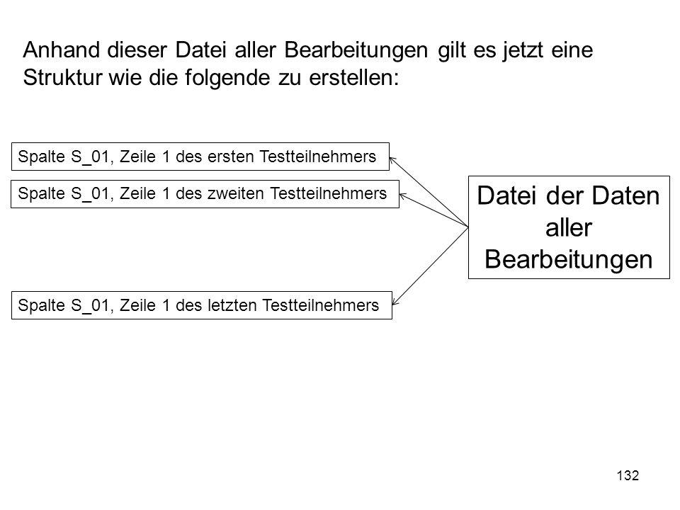 132 Anhand dieser Datei aller Bearbeitungen gilt es jetzt eine Struktur wie die folgende zu erstellen: Spalte S_01, Zeile 1 des ersten Testteilnehmers