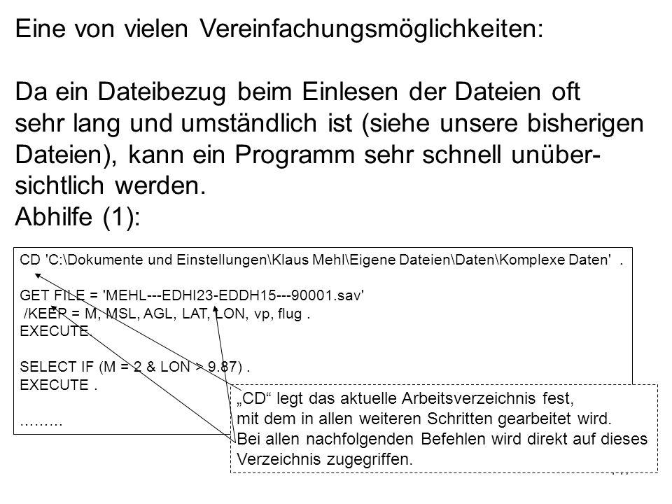147 CD 'C:\Dokumente und Einstellungen\Klaus Mehl\Eigene Dateien\Daten\Komplexe Daten'. GET FILE = 'MEHL---EDHI23-EDDH15---90001.sav' /KEEP = M, MSL,