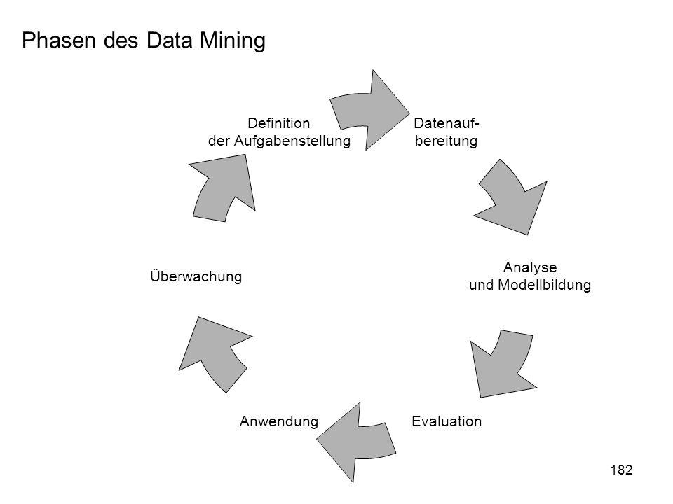 182 Datenauf- bereitung Analyse und Modellbildung EvaluationAnwendung Überwachung Definition der Aufgabenstellung Phasen des Data Mining