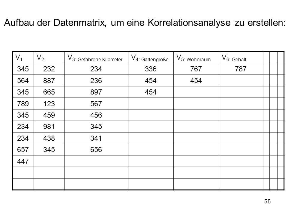55 Aufbau der Datenmatrix, um eine Korrelationsanalyse zu erstellen: V1V1 V2V2 V 3: Gefahrene Kilometer V 4: Gartengröße V 5: Wohnraum V 6: Gehalt 345