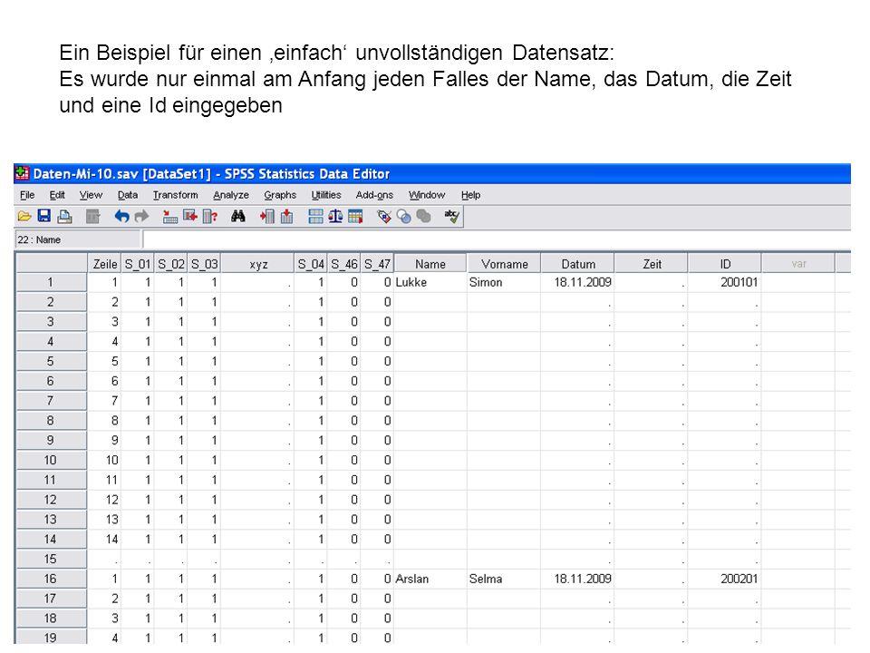67 Ein Beispiel für einen einfach unvollständigen Datensatz: Es wurde nur einmal am Anfang jeden Falles der Name, das Datum, die Zeit und eine Id eing