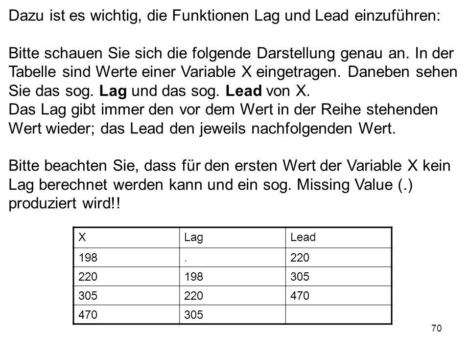 70 Dazu ist es wichtig, die Funktionen Lag und Lead einzuführen: Bitte schauen Sie sich die folgende Darstellung genau an. In der Tabelle sind Werte e
