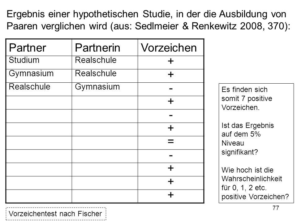 77 Ergebnis einer hypothetischen Studie, in der die Ausbildung von Paaren verglichen wird (aus: Sedlmeier & Renkewitz 2008, 370): PartnerPartnerinVorz