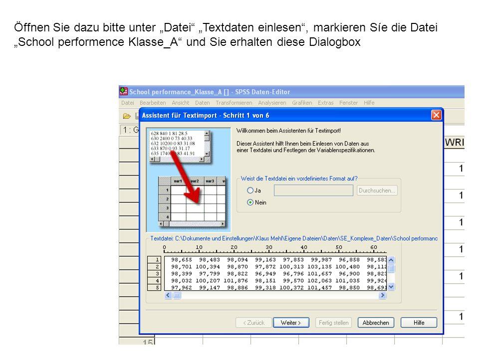 81 Öffnen Sie dazu bitte unter Datei Textdaten einlesen, markieren Síe die Datei School performence Klasse_A und Sie erhalten diese Dialogbox