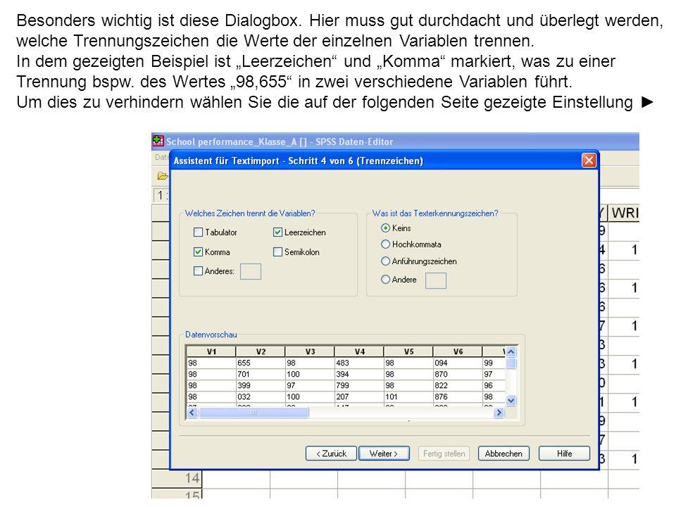 82 Besonders wichtig ist diese Dialogbox. Hier muss gut durchdacht und überlegt werden, welche Trennungszeichen die Werte der einzelnen Variablen tren