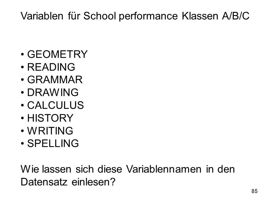 85 Variablen für School performance Klassen A/B/C GEOMETRY READING GRAMMAR DRAWING CALCULUS HISTORY WRITING SPELLING Wie lassen sich diese Variablenna