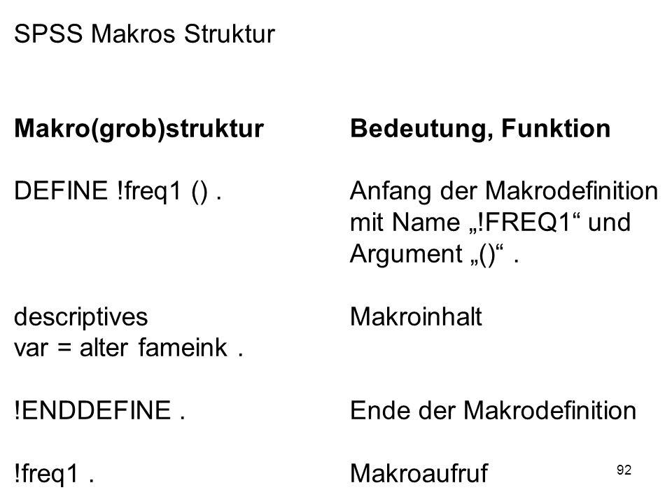 92 SPSS Makros Struktur Makro(grob)strukturBedeutung, Funktion DEFINE !freq1 ().Anfang der Makrodefinition mit Name !FREQ1 und Argument (). descriptiv