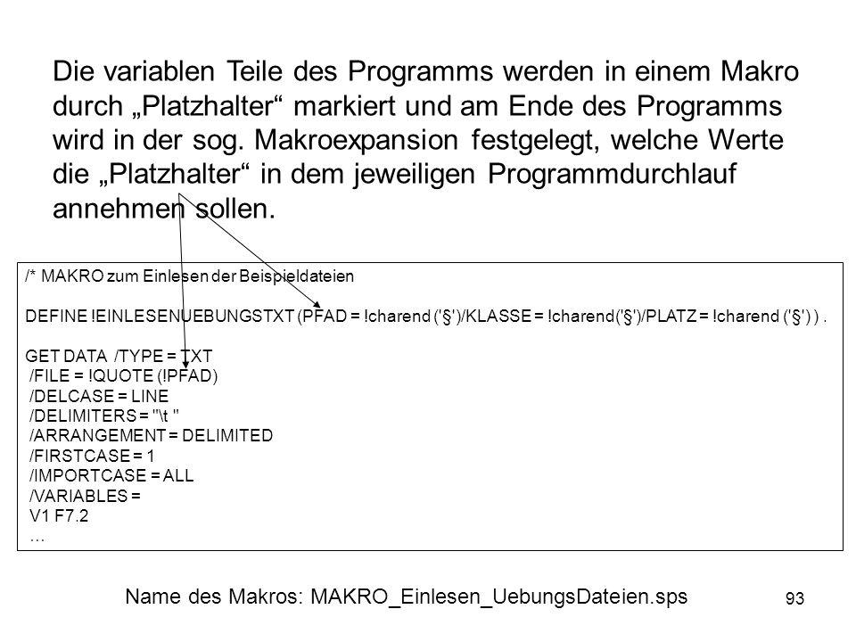 93 Die variablen Teile des Programms werden in einem Makro durch Platzhalter markiert und am Ende des Programms wird in der sog. Makroexpansion festge