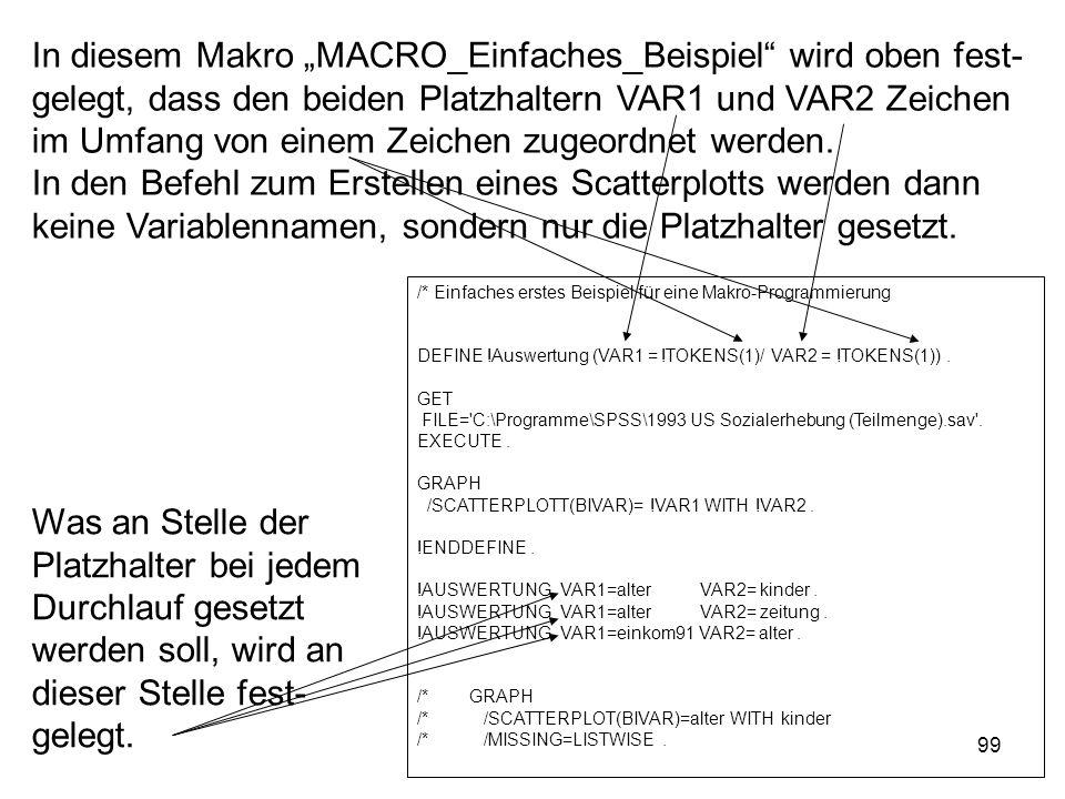 99 In diesem Makro MACRO_Einfaches_Beispiel wird oben fest- gelegt, dass den beiden Platzhaltern VAR1 und VAR2 Zeichen im Umfang von einem Zeichen zug