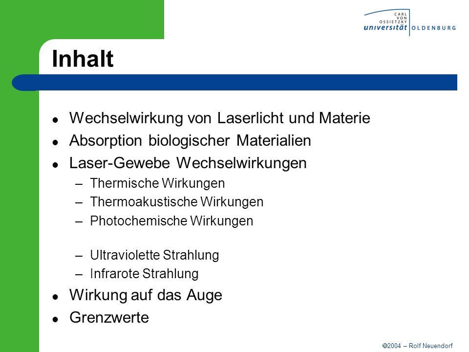 2004 – Rolf Neuendorf Inhalt Wechselwirkung von Laserlicht und Materie Absorption biologischer Materialien Laser-Gewebe Wechselwirkungen –Thermische W