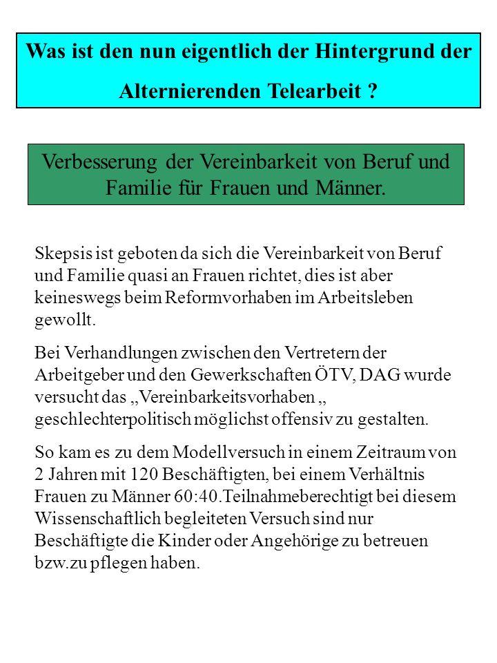 Alternierende Telearbeit Modellversuch in der Hessischen Landesverwaltung Was bedeutet den nun eigentlich Alternierende Telearbeit ? Verteilung der Ar