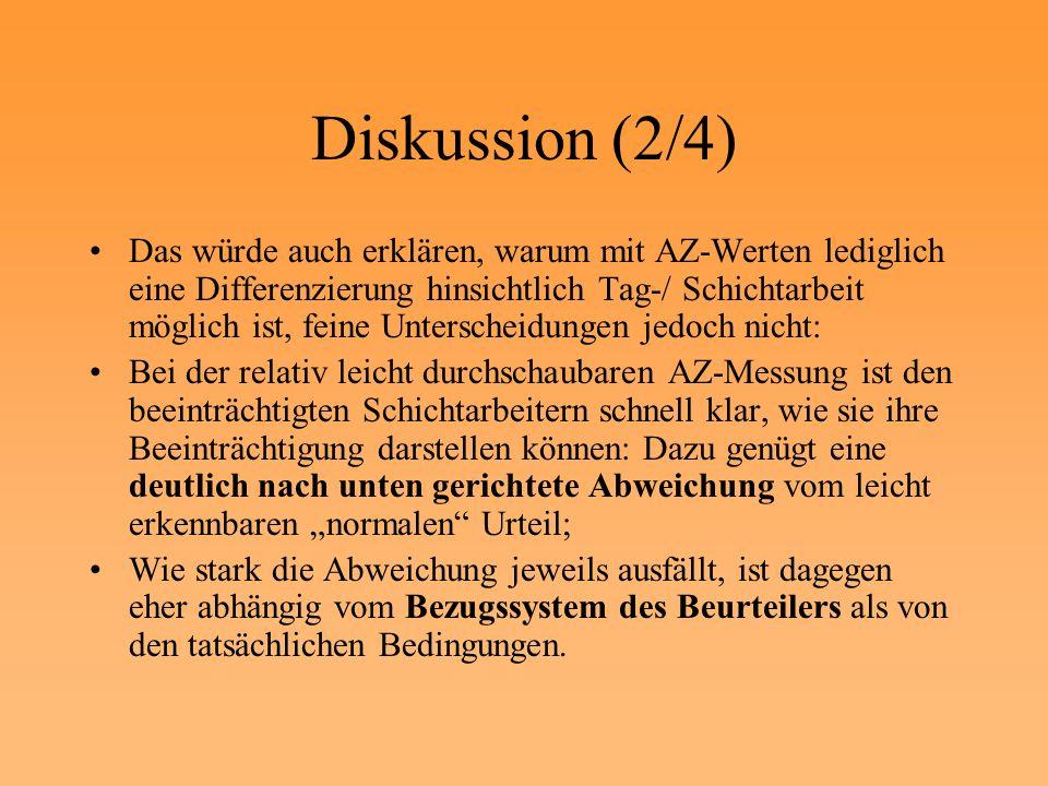 Diskussion (2/4) Das würde auch erklären, warum mit AZ-Werten lediglich eine Differenzierung hinsichtlich Tag-/ Schichtarbeit möglich ist, feine Unter