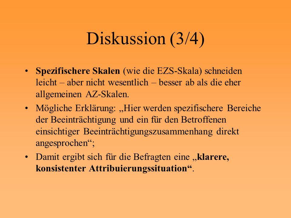 Diskussion (3/4) Spezifischere Skalen (wie die EZS-Skala) schneiden leicht – aber nicht wesentlich – besser ab als die eher allgemeinen AZ-Skalen. Mög