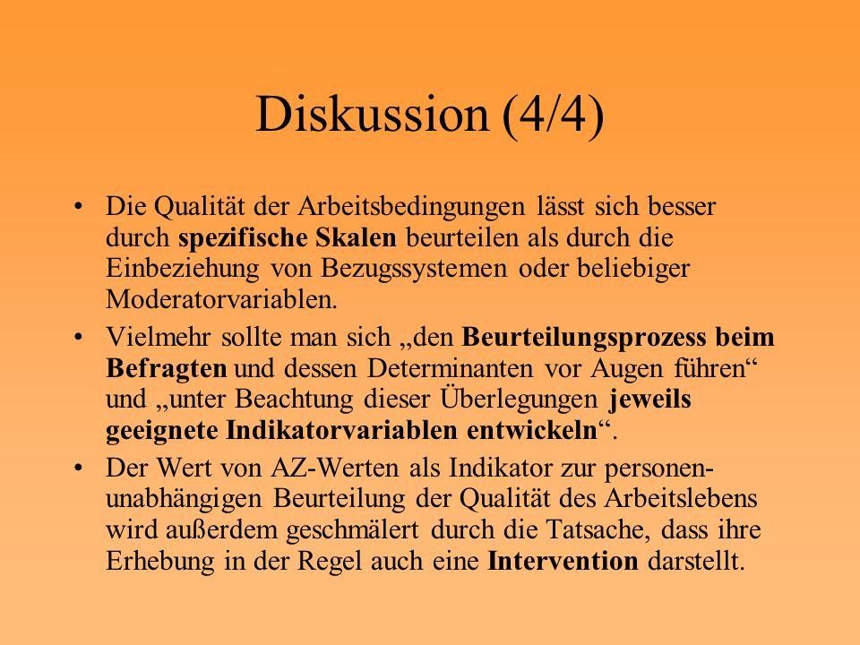 Diskussion (4/4) Die Qualität der Arbeitsbedingungen lässt sich besser durch spezifische Skalen beurteilen als durch die Einbeziehung von Bezugssystem
