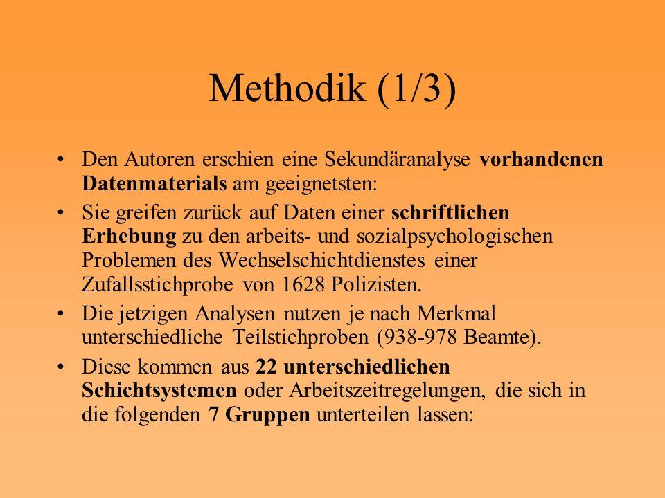 Methodik (1/3) Den Autoren erschien eine Sekundäranalyse vorhandenen Datenmaterials am geeignetsten: Sie greifen zurück auf Daten einer schriftlichen