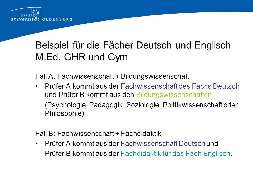 Beispiel für die Fächer Deutsch und Englisch M.Ed.
