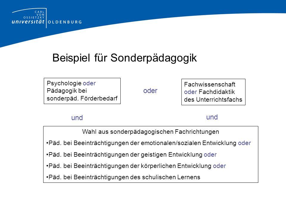 Beispiel für Sonderpädagogik Wahl aus sonderpädagogischen Fachrichtungen Päd.
